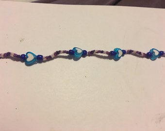 Child's heart necklace (purple/blue) with clasp