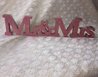 Mr and mrs glitter sign