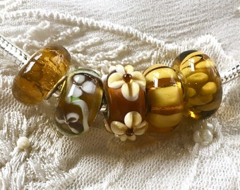 5 Murano Glass Beads Set, Lampwork Glass Beads, Large Hole Beads,  Euro Charm Bracelet Beads, Gold Glass Beads