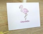 Personalized Flamingo Stationery - Set of 25