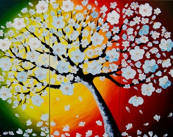 Large Abstract Canvas Art White Cherry Blossoms painting rainbow canvas art