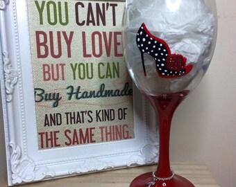 Shoe love is true love hand painted wine glass