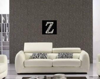 Led cut canvas letter 'Z as zebra'
