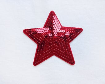 1x sequins red glitter shiny star patch love burlesque Iron On Embroidered Applique