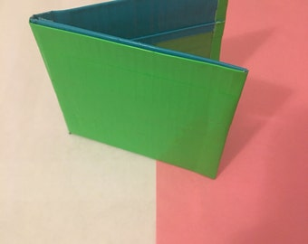 Green and Blue Bifold duct tape wallet