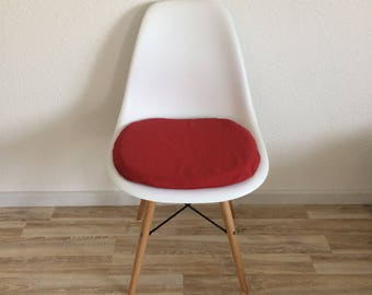 Red seat cushions for Eames chairs DSW DAW with zipper
