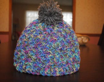 Variegated Lattice Pompom Hat