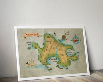 Peter Pan Neverland Map / Very Large Print / Peter Pan Nursery / Neverland Map / Map of Neverland / Peter Pan / Peter pan nursery