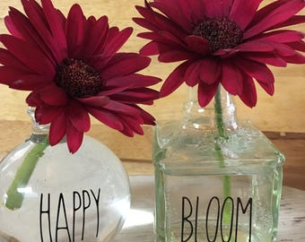 Rae Dunn Inspired Happy & Bloom Vinyl Decals, Rae Dunn Inspired Bud Vase Decals
