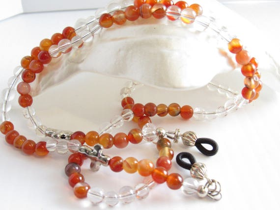 Agate and Quartz, Orange and clear glass bead reading glasses chain, necklace, with silver metal cross pendants