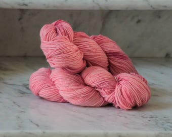 Passion Pink Handpainted Wool and Angora 3ply Yarn
