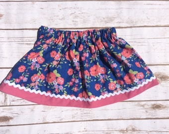 Floral skirt with ric rac trim