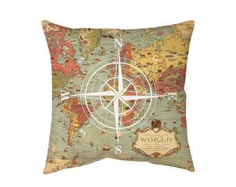 World Map Pillow Nautical Pillow, Decorative Pillows, Designer Pillow, Throw Pillow, Travel Pillow, Compass Pillow
