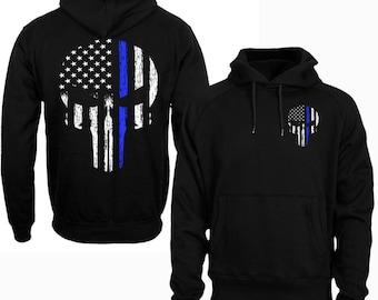 Thin Blue Line Hoodie Police Hoodie Thin Blue Line Shirt Skull USA Flag Men's Hoodie