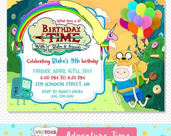 Adventure Time Invitation, Adventure Time Party, Adventure Time Invite, Adventure Time Birthday