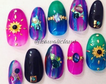 Jewel tone Stained Glass Shell & Studs Ombre Gel Nail Art Press on false fake nails