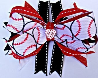Red and Black Baseball Stacked Boutique Bow