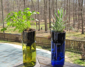 Upcycled Wine Bottle Self-Watering Planter - Great Mother's Day Gift!