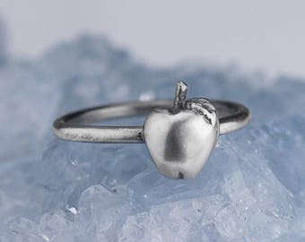 Sterling Silver Apple Ring Solid .925 Apples Fruit Rings Custom Sizes