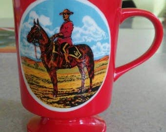 Vintage Canadian Mountie Red Tea Cup Coffee Mug RCMP souvenir