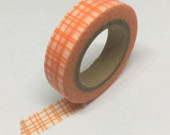 Washi Tape - Orange Gingham Washi Tape - Decorative Tape - Adhesive