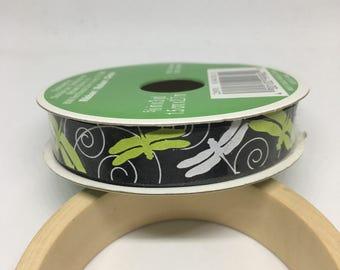 Fireflies Ribbon / Polyester Ribbon / Fabric Ribbon / Sewing Ribbon / Scrapbooking / Card Making / Black, White & Green Ribbon