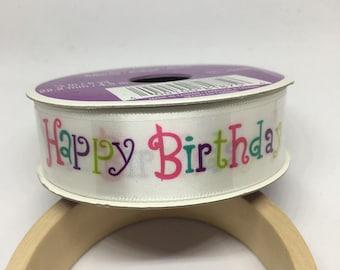 Happy Birthday Ribbon / Polyester Ribbon / Fabric Ribbon / Sewing Ribbon / Scrapbooking / Card Making