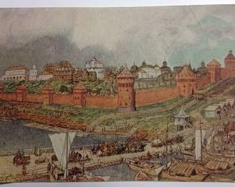 Vintage postcard Artist Vasnetsov Moscow Kremlin  Kremlin under Ivan III (second half of the XV century)