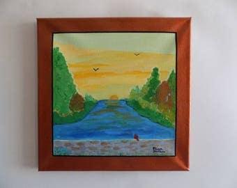 Sunrise on Canvas, Acrylics,'Golden Sunrise', gift sized, self framing, home decor, square art, wall art