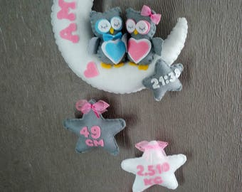 Personalised Baby mobile, felt moon, baby mobile with name