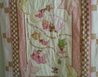 Crib Buggy Quilt Baby Child Stars Swing Baby Shower Christening Gift Flannelette