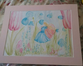 Flower fairy watercolor painting happy colors.