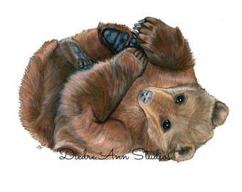 Grizzly Brown Bear Nursery Fine Art Print - SKUWC102