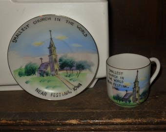 Smallest Church In The World Near Festina Iowa IA Vintage Souvenir Tea Cup and Saucer Made In Japan Hand Painted by G Nov Co
