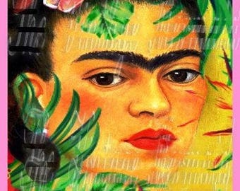 Exotic Frida Kahlo Fabric Collage Altered Self Portrait Crafts Quilts Block FK119a