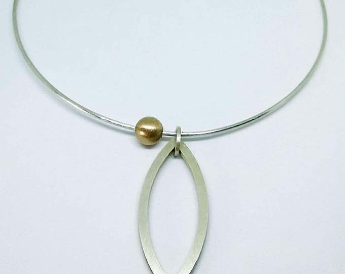 Handmade sterling silver and yellow gold minimalist neck-ring
