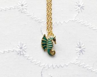 Green Seahorse Necklace