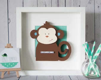Wooden Monkey Frame, new baby gift, christening gift, nursery decor, personalised gift, birthday gift, wooden box frame, wooden monkey