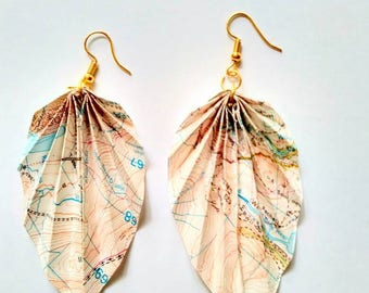 Vintage Snowdonia Map Origami Leaf Earrings