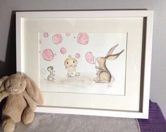 Nursery Decor Wall Art Painting Baby Cute Bubbles Original Framed Painting