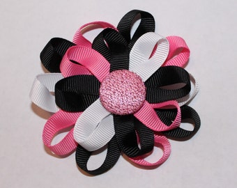 Girl's Hair Clip Barrette Black White Pink Flower