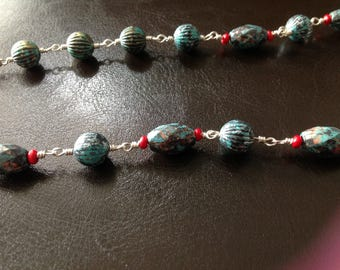 Multi colored beads with silver wire