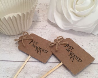 Handmade Just Married Cupcake Flags