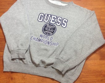 Free Shipping Vintage GUESS  crewneck   urban embroidery spellout fashion hip hop