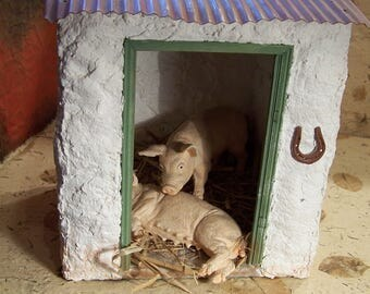 Pigs in Pigsty,  interior design, collectable gift,  12th scale,  table-top display