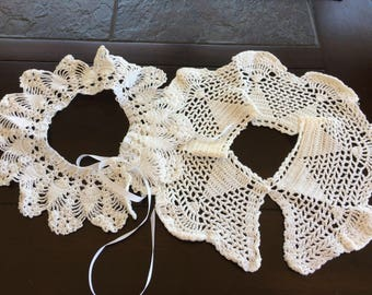 Vintage, hand crocheted, neck collars
