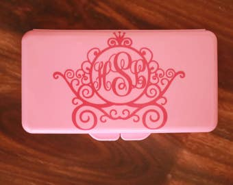 Monogrammed Carriage Diaper Wipe Case for Girl