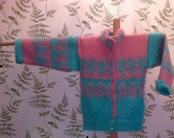 MOHAIR DESIGNER KNITWEAR knitted jacket Outdoor wear apres ski size 12 aqua and pink