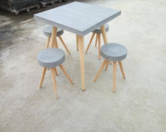 Designer table, dining table, writing desk made of concrete, solid, 70x70cm, including stool