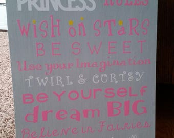 11x14 Wooden Princess Sign - Princess Rules